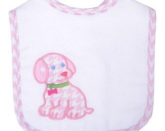 Pastel pink houndstooth puppy bib