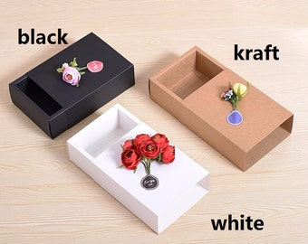 Joy Size:15 size option  black gift paper box ,white folding paper box for cosmetics,kraft Paper Sliding Boxes  15pcs