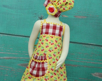 Girls Cherry Apron size 7-10 - Yellow Cherry - READY TO SHIP