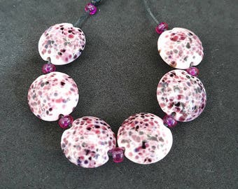 Candy - lampwork bead set, handmade lampwork beads