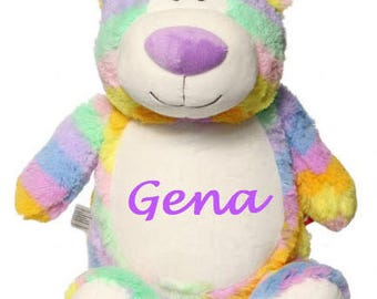 Pastel Rainbow Bear Cubby, Easter Teddy Bear,  Pastel Rainbow Teddy Bear, Monogrammed Teddy Bear, Personalized Teddy Bear.  Baby Gift