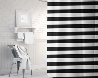 Black and White Striped Shower Curtain, Bathroom Decor, Bath Curtain, Stripes, Standard or Extra Long, Housewarming Gifts