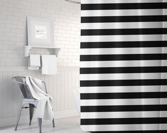 Black and White Striped Shower Curtain, Bathroom Decor, Bath Curtain, Stripes, Standard or Extra Long, Housewarming Gifts