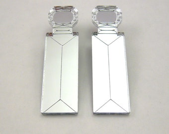 Square Gem Drop Statement Earrings - silver earrings, Jewel earrings, Emerald earrings, laser cut earrings, perspex earrings, modern earring