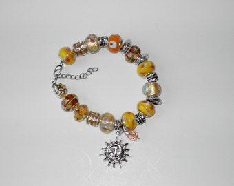 Yellow lampwork charm leather bracelet (#300)