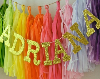 "Glitter Letter Custom Baby Name Banner / Smash Cake Prop / Modern Nursery Decor / High Chair Sign / Other Colors Available / 4"" Uppers"