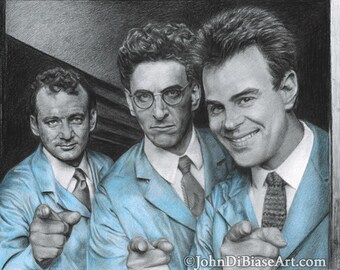 """Peter, Egon & Ray """"Ready To Believe You"""" Ghostbusters Drawing Print"""