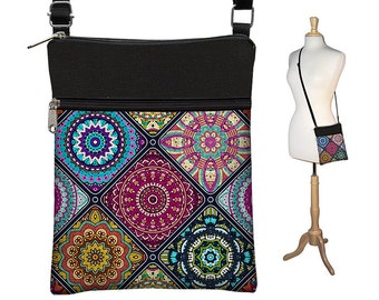 Sac bandoulière, sac, bourse de corps Croix, Boho tissu sacs à main, petit sac à bandoulière w / mandala coloré de fermetures à glissière bleu violet orange RTS
