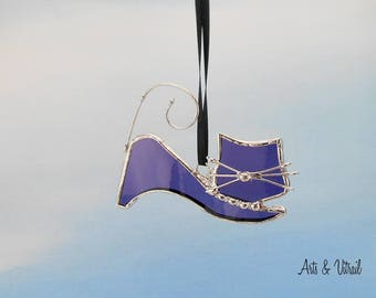 Stained glass cat suncatcher - purple glass - stained glass hanging -name RONRON - cat glass - cat family - beautiful cat