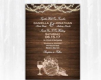 Wine Wedding Invitation DIY PRINTABLE Digital File or Print (extra) Vineyard Wedding Invitation Winery Invitation Wine Invitation Vineyard