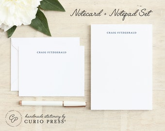 Personalized Stationery Set / Notecard and Notepad Stationary Set / Professional Simple Classic Cards // SIMPLICITY 2-SET / Flat + Pad
