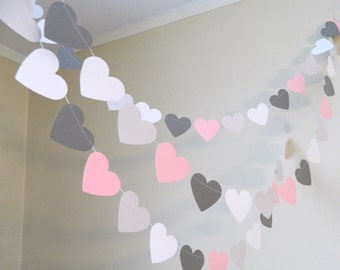 Paper Heart Garland/ 10ft Pink Gray and White Paper Hearts /Wedding Decor /Bridal Shower Decor / Heart Garland / your color and size choice