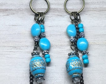 Boho earrings; turquoise earrinhs; handmade earrings; drop earrings; dangle earrings