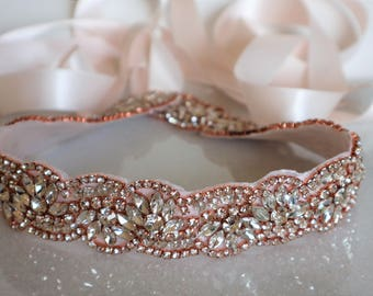 Rose Gold Crystal Rhinestone Bridal Sash,Wedding sash,Bridal Accessories,Bridal Belt and sashes,Ribbon Sash,Style #46