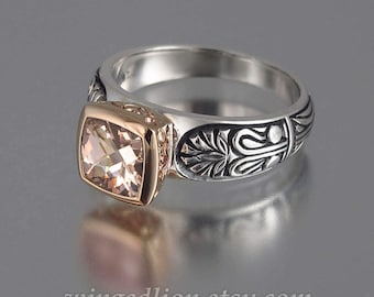 Engagement Ring ALEXANDRA silver and 14K gold with Morganite