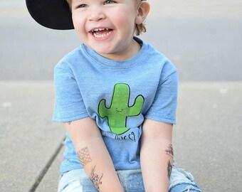 Blue Saguaro Cactus Hug Baby Toddler Kid T-Shirt - Organic Triblend