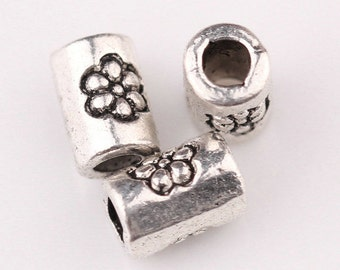 Tibetan Silver Antique Cylinder Flower Spacer Bead small