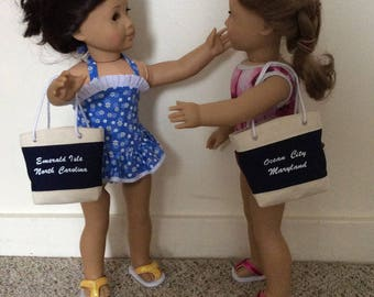 Custom printed beach tote bag for 18 inch dolls such as American Girl, Our Generation etc