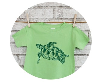 Sea Turtle Toddler Tshirt, Youth Cotton Crewneck Graphic Tee, Short Sleeved, Bright Key Lime Green Cotton Crewneck Kids Clothes Ocean Animal