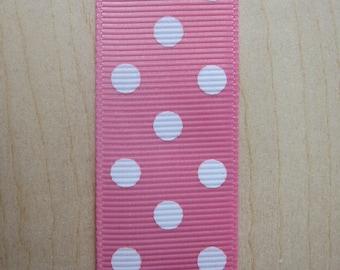 5 yards Bubble Gum Pink Polka Dot Grosgrain Ribbon 1 inch
