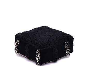 Moroccan Pouf, Floor Cushion, Beni Ourain Pouf Ottoman, Floor Pillow, Foot Stool, Refashioned from a Moroccan Berber Rug. PVM012