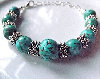 Faux turquoise bracelet, bangle, with lobster clasp.