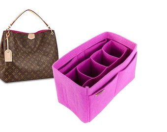LV Delightful pm mm gm bag insert organizer with Ipad sleeve & removable compartments in FUCHSIA - Express shipping