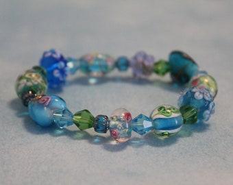 Floral Lampwork Bracelet, Blue and Green Beaded, Garden Bracelet, Heart Jewelry, Blue Flower Bracelet, Glass Bead Jewelry, Nature Inspired