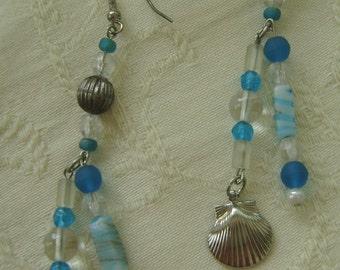 Hand Beaded French Hook Earrings, Blue, Crystal, Silver Beach Theme