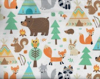Teepee Time Animals flannel fabric  bear fox rabbit raccoon hedgehog owl wolf squirrel - Northcott Deborah Edwards - by continuous YARD
