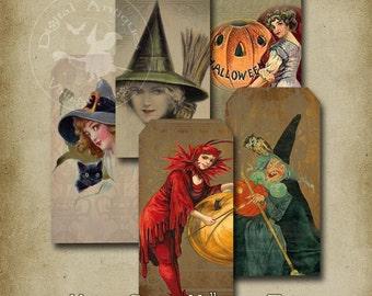 Vintage Grungy Halloween Tags Printable Digital Download
