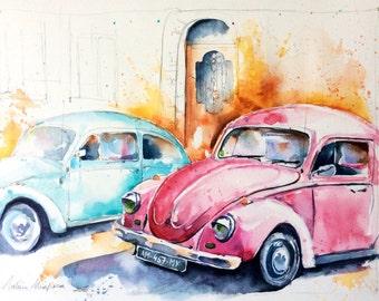 Watercolor original painting - Lady bug (car volkswagen beetle blue retro vintage pink)