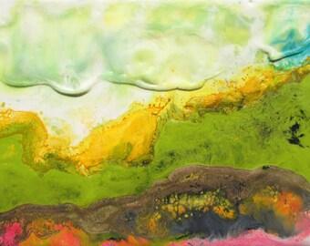Encaustic painting, abstract landscape, encaustic art, spring green, cloud painting