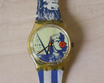Rare Swatch Amneris Egyptian Sphinx watch. Swatch authentic GK132 Amneris watch. 1990s Vintage Swatch watch. 90s watch. Swatch watch