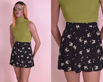 90s Floral Print Pleated Mini Skirt/ US 6