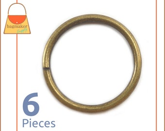 """2 Inch Antique Brass / Bronze O Rings, 6 Pack, Handbag Purse Bag Making Hardware Supplies, 2"""", Two Inch, RNG-AA176"""