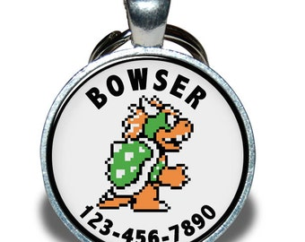 Pet ID Tag - Bowser Nintendo, Pixelated *Inspired* - Dog tag, Cat Tag, Pet Tag