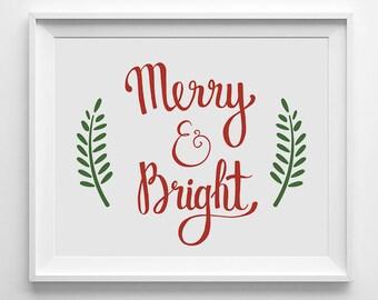 Merry and Bright, Christmas Sign, Printable wall art, Christmas printable, Holiday digital poster, Holiday printable, Red and Green decor