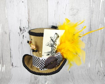 Mad Hatter Illustration Gold, Black, and Yellow Steampunk Large Mini Top Hat Fascinator, Alice in Wonderland Mad Hatter Tea Party, Derby Hat