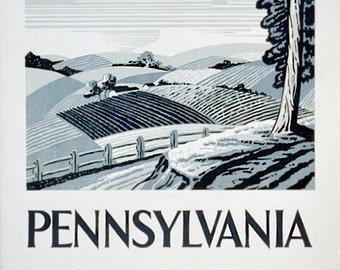 Pennsylvania 1930 Farmland, Poster Print