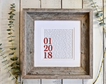 Wood Anniversary Gift | 5th Anniversary Gift |  Printed Wedding Vows | Framed Wedding Vows |  First Dance Lyrics or Vows in Wood Frame