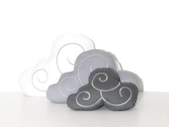Cloud Pillow Set (3)  - Nursery Decor - Kid Pillow -Light grey, white and dark grey
