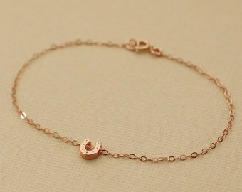 Rose Gold Tiny Horseshoe Necklace - Rose Gold Filled Chain