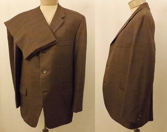 60's Vintage Langrock Princeton Brown Wool Men's Suit Size 40