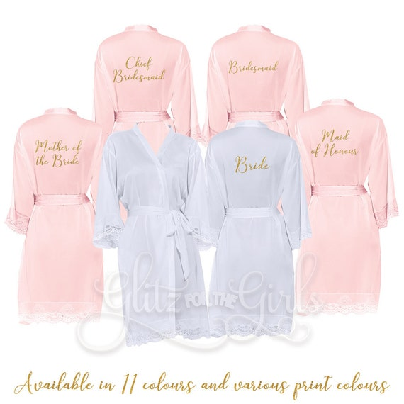 Blush Lace Bridesmaid Robes Bridesmaid Robe Bride Dressing