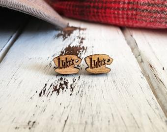 Gilmore Girls Earrings - Luke's Diner - Gilmore Girls - Coffee Cup Earrings - Laser Engraved - Surgical Steel Earrings - Wood Earrings