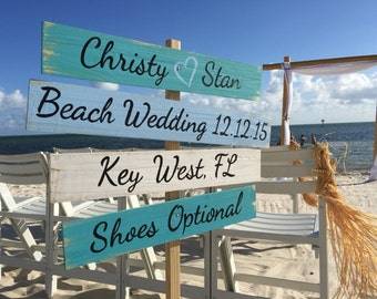 Wedding Nautical Sign, Rustic Wedding Decor Wood, Shoes Optional Directional Wedding Sign, Unique gift for couple