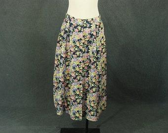 vintage 90s Silk Skirt - 1990s Blue Floral Maxi Skirt Sz L
