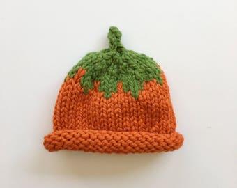 Roll Brim Pumpkin Hat- Various Sizes    Knit Pumpkin Hat    Fall Hat    Halloween Hat    Photography Prop