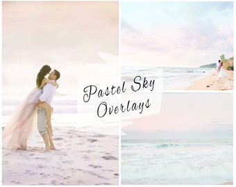 Pastel Sky Photoshop Overlays, Sky Overlays, Pastel Skies, Blue Sky Replacement, Sky Backdrop, Digital Backdrop, Instant Download